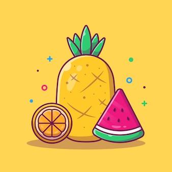 Ananas, wassermelone und orange illustration. sommer essen und trinken. urlaubskonzept isoliert