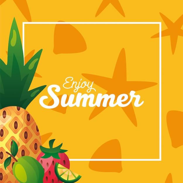 Ananas-wassermelonen-zitrone und erdbeere mit rahmenvektorentwurf