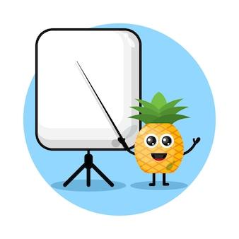 Ananas wird zu einem süßen charakterlogo des lehrers