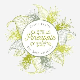 Ananasfrucht-entwurfsvorlage. hand gezeichnete vektorfruchtillustration. retro- tropischer hintergrund der gravierten art.