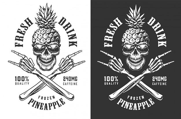 Ananasschädel im sonnenbrillen-vintage-etikett