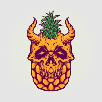 Ananasschädel sommer illustrationen