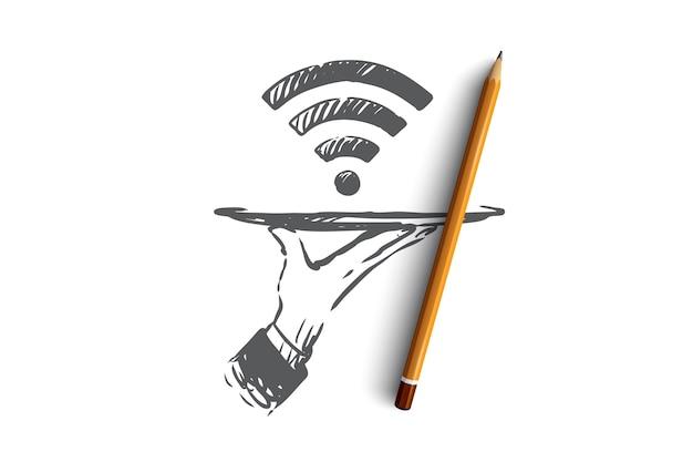 Anbieter, wi-fi, internet, netzwerk, zugangskonzept. hand gezeichnetes symbol der wi-fi-signalkonzeptskizze.