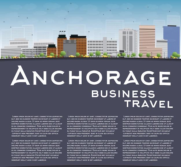 Anchorage (alaska) skyline mit grauen gebäuden