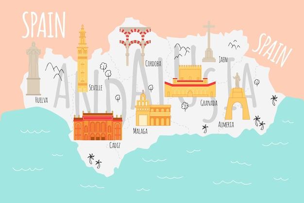 Andalusien karte mit interessanten sehenswürdigkeiten