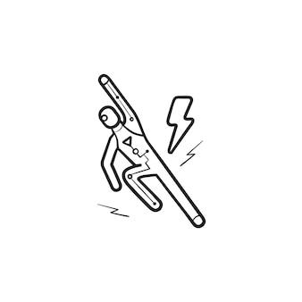 Android fliegende hand gezeichnete umriss-doodle-symbol. robotertechnologie, roboterflugkonzept