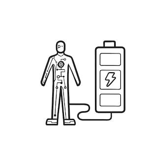 Android lädt vom handgezeichneten umriss-doodle-symbol der batterie. fortschrittliches kybernetisches, menschliches energietechnologiekonzept. vektorskizzenillustration für print, web, mobile und infografiken auf weißem hintergrund.