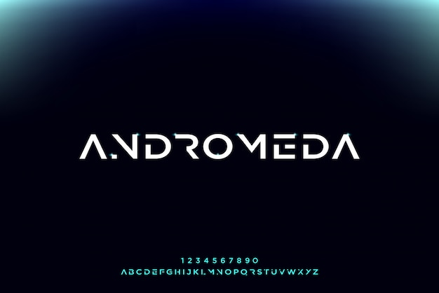 Andromeda, eine abstrakte futuristische alphabetschrift mit technologiethema. modernes minimalistisches typografie-design