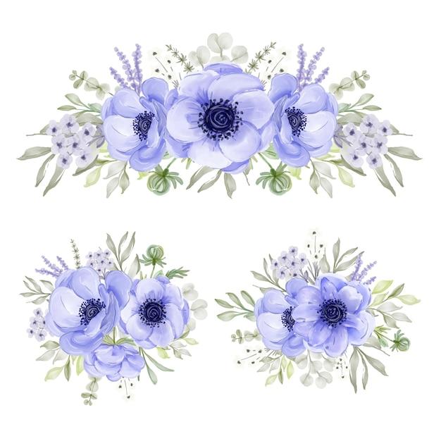 Anemone lila aquarellblumenanordnungssammlung