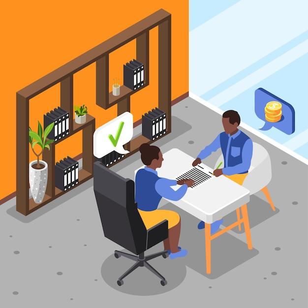 Anerkannter kredithintergrund mit mann, der darlehen in isometrischer illustration der bank aufnimmt