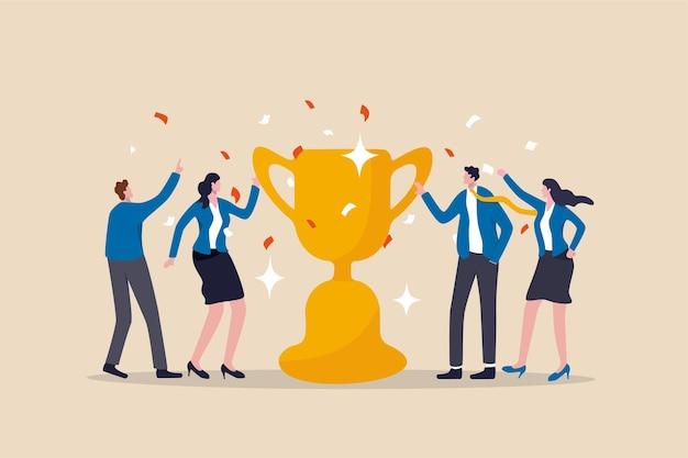 Anerkennung des teamerfolgs, belohnung für teamarbeit zur erreichung des geschäftsziels.