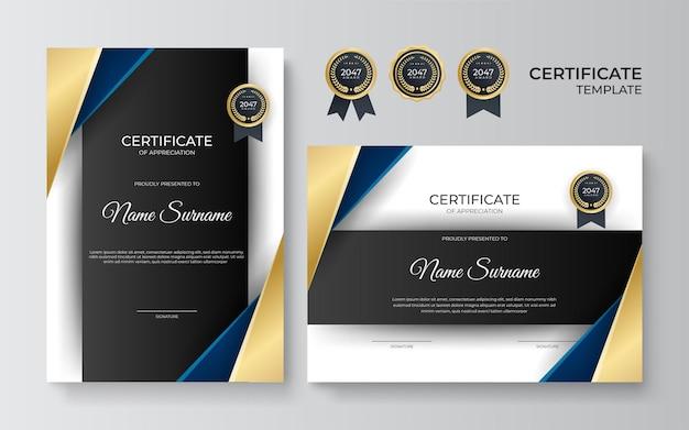 Anerkennungszertifikat vorlage, gold, schwarz und blau. sauberes modernes zertifikat mit goldenem abzeichen. zertifikatsrahmenschablone mit luxuriösem und modernem linienmuster. diplomvektorvorlage