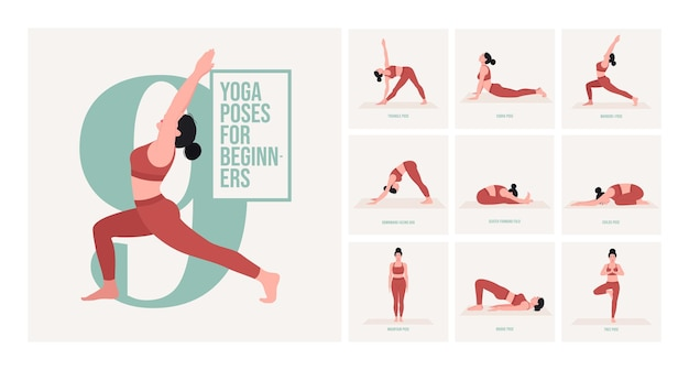 Anfänger-yoga-posen junge frau, die yoga-pose praktiziert
