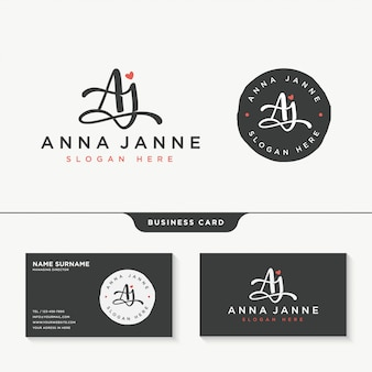 Anfängliche aj signatur logo design vorlage