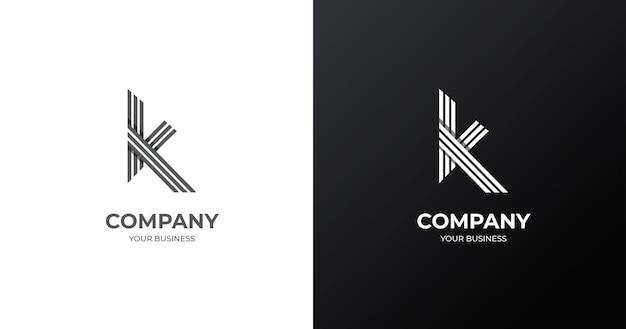 Anfängliche k-buchstaben-logo-entwurfsschablone, linienkonzept
