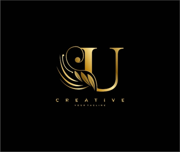 Anfängliche u-buchstaben-luxusschönheit blüht ornament goldenes monogramm-logo