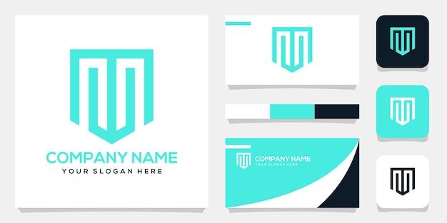 Anfängliche wm-logo-hintergrundschablone des abstrakten monogramms, visitenkartenentwurf