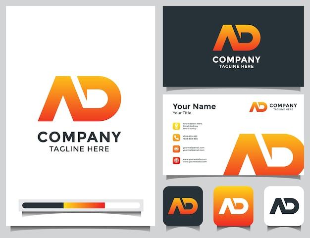 Anfängliches ad-logo mit visitenkarte