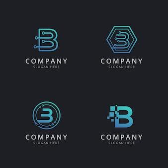 Anfängliches b-logo mit technologieelementen in blauer farbe