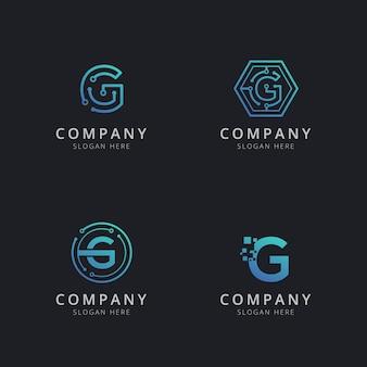 Anfängliches g-logo mit technologieelementen in blauer farbe