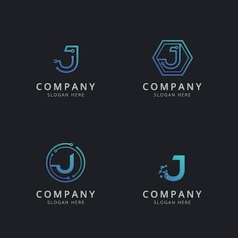 Anfängliches j-logo mit technologieelementen in blauer farbe