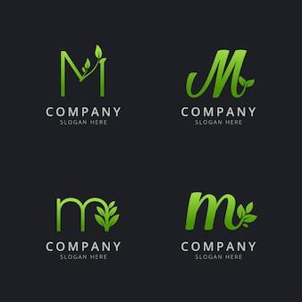 Anfängliches m-logo mit blattelementen in grüner farbe