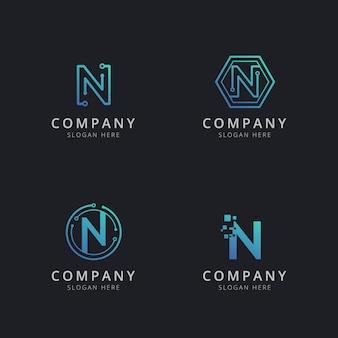 Anfängliches n-logo mit technologieelementen in blauer farbe