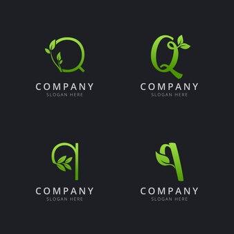 Anfängliches q-logo mit blattelementen in grüner farbe
