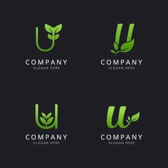Anfängliches u-logo mit blattelementen in grüner farbe