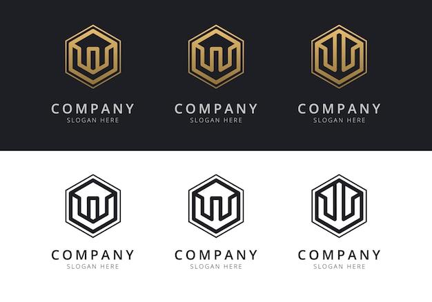 Anfängliches w-logo in sechseckform in gold und schwarz