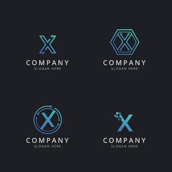 Anfängliches x-logo mit technologieelementen in blauer farbe