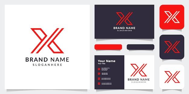 Anfängliches x-logo und visitenkarte