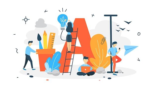 Anfangs- oder großbuchstabenkonzept. leute einen riesigen brief. dekoration des buchtextes. illustration