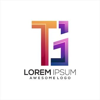 Anfangs-tg-logo-buchstabe bunter farbverlauf abstrakt