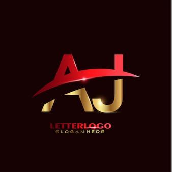 Anfangsbuchstabe aj-logo mit swoosh-design für firmen- und geschäftslogo.