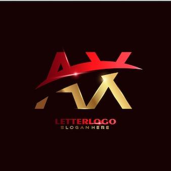 Anfangsbuchstabe ax-logo mit swoosh-design für firmen- und geschäftslogo.