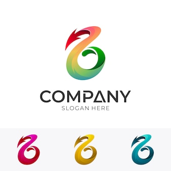 Anfangsbuchstabe b mit pfeil business logo konzept