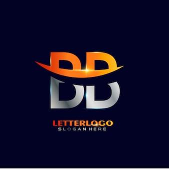 Anfangsbuchstabe bb-logo mit swoosh-design für firmen- und geschäftslogo.