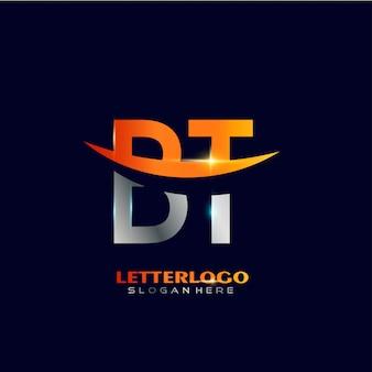 Anfangsbuchstabe bt-logo mit swoosh-design für firmen- und geschäftslogo.