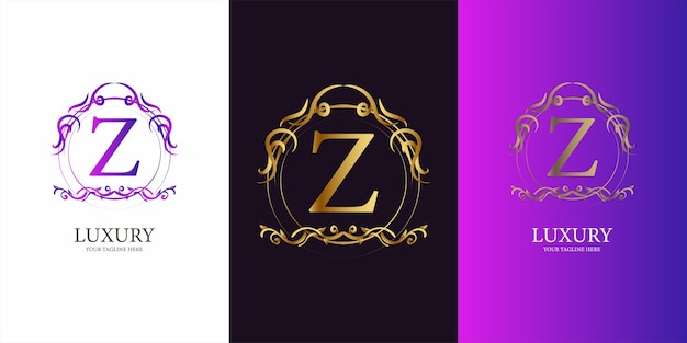 Anfangsbuchstabe des buchstabens z mit goldener logoschablone des blumenrahmens der luxusverzierung.
