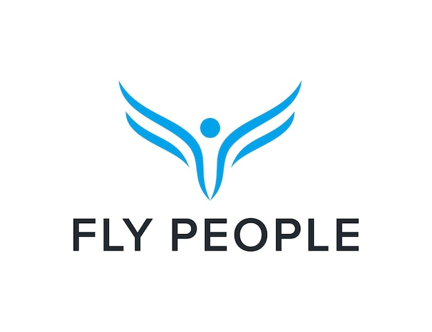 Anfangsbuchstabe f fliegen menschen einfaches schlankes kreatives geometrisches modernes logo-design