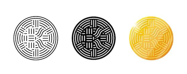 Anfangsbuchstabe k kryptowährung goldmünze logo digitales firmenlogo designkonzept vektor krypto