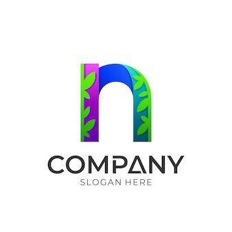 Anfangsbuchstabe n logo mit blättern