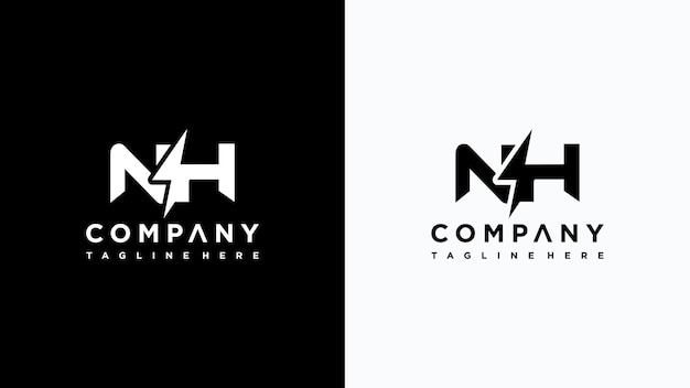 Anfangsbuchstabe nh strom logo-design