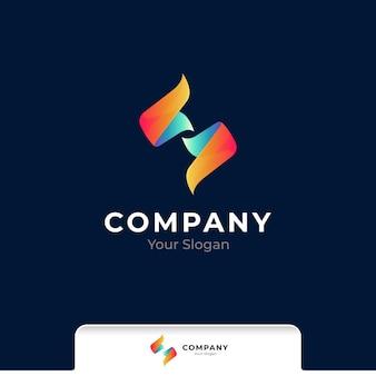 Anfangsbuchstabe s farbverlauf logo vorlage
