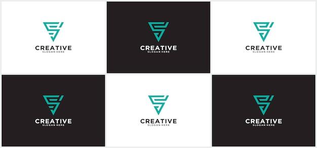 Anfangsbuchstabe s-logo-vorlage mit dreieck-linien-kunstillustration im monogramm-symbol flaches design modernes dreieck-s-logo in geometrischer form