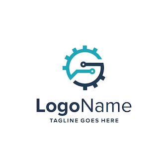 Anfangsbuchstabe s und ausrüstung für technologie einfaches schlankes kreatives geometrisches modernes logo-design