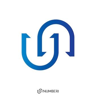 Anfangsbuchstabe u und n, oder s und c logo mit nummer 1 zeichen logo konzept