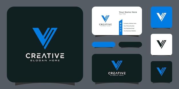 Anfangsbuchstabe v logo linienstil vektordesign