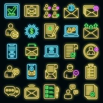 Anforderungssymbole eingestellt. umrisse von anfragevektorsymbolen neonfarbe auf schwarz